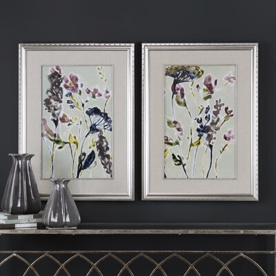 'Parchment Flower Field' 2 Piece Framed Painting Print Set OAWY6507 34934780