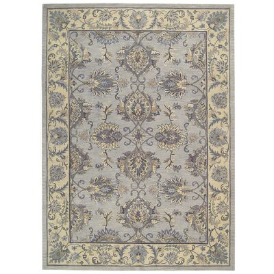 Poulos Hand-Tufted Gray/Ivory Area Rug Rug Size: Rectangle 56 x 86