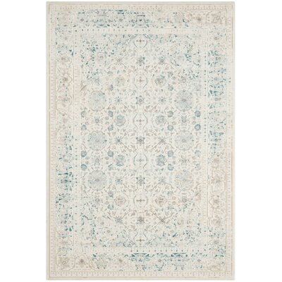 Auguste Turquoise/Ivory Area Rug Rug Size: Rectangle 3 x 5