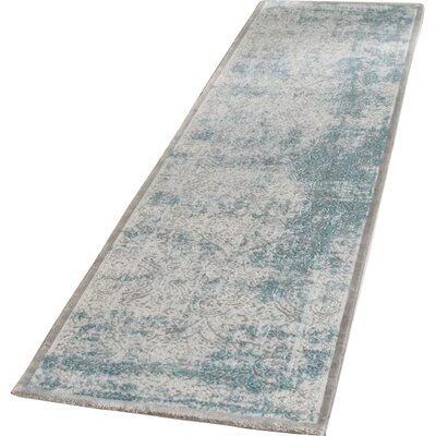 Auguste Turquoise/Ivory Area Rug Rug Size: Runner 22 x 14