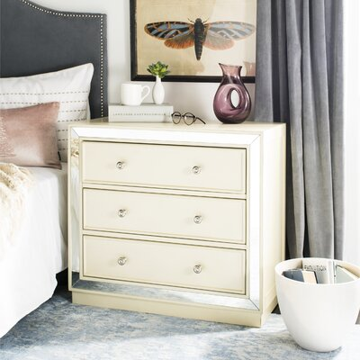 Abasi 3 Drawer Nightstand Color: Antique Beige