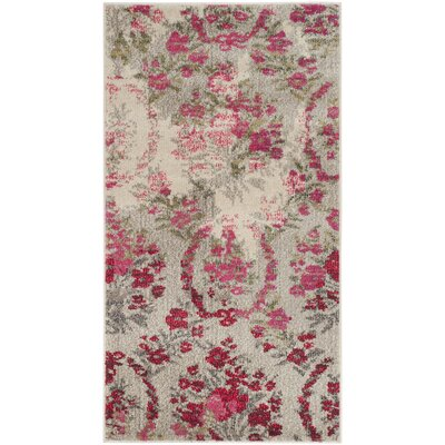 Monaco Ivory/Pink Area Rug Rug Size: Rectangle 22 x 4
