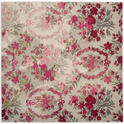 Monaco Ivory/Pink Area Rug Rug Size: Square 67