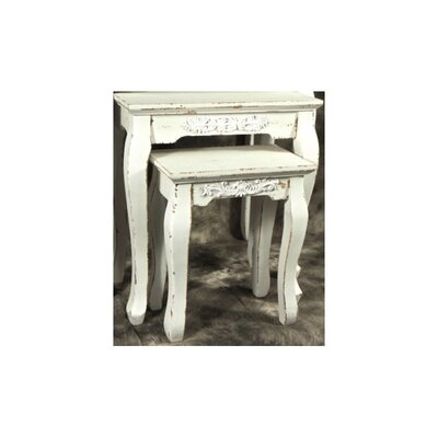 Pietro Wooden Flower 2 Piece Nesting Tables