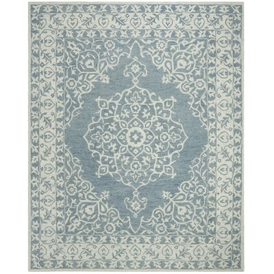 Burhardt Hand Tufted Wool Blue Area Rug Rug Size: Square 5