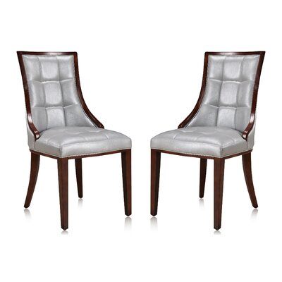 Fien Upholstered Dining Chair Upholstery: Silver