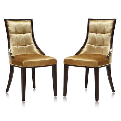 Fien Upholstered Dining Chair Upholstery: Gold Velvet