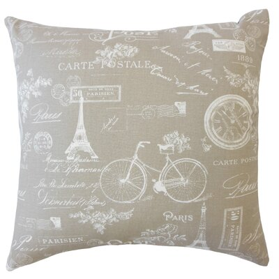 Daniele Typography Down Filled 100% Cotton Throw Pillow Size: 18 x 18, Color: Ecru