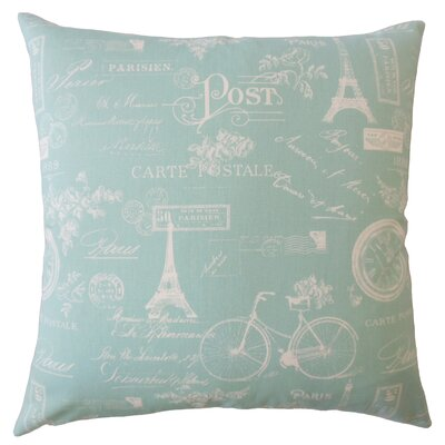 Daniele Typography Down Filled 100% Cotton Throw Pillow Size: 18 x 18, Color: Light Blue