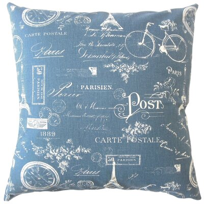Daniele Typography Down Filled 100% Cotton Throw Pillow Size: 22 x 22, Color: Navy