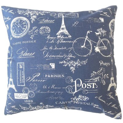 Daniele Typography Down Filled 100% Cotton Throw Pillow Size: 18 x 18, Color: Indigo