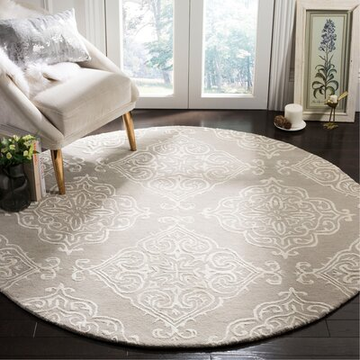 Bernon Hand Tufted Silver Area Rug Rug Size: Round 6