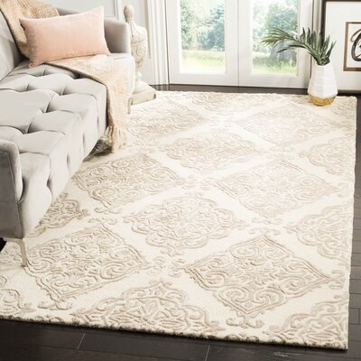 Bernon Hand Tufted Wool Ivory Area Rug Rug Size: Rectangle 4 x 6