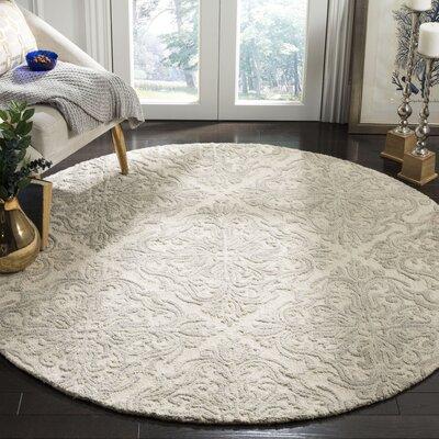 Burkhart Hand Tufted Wool Ivory Area Rug Rug Size: Round 6