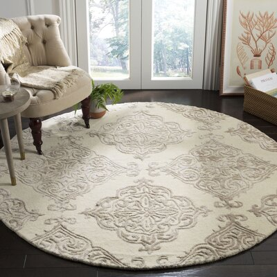 Bernon Hand Tufted Wool Ivory Area Rug Rug Size: Round 6