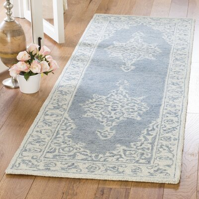 Burhardt Hand Tufted Wool Blue Area Rug Rug Size: Runner 23 x 7