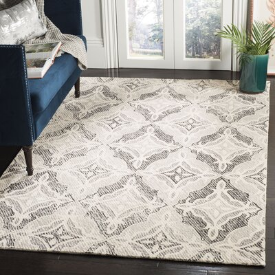 Ontiveros Micro-Loop Hand-Tufted Wool Gray Area Rug Rug Size: Rectangle 8 x 10