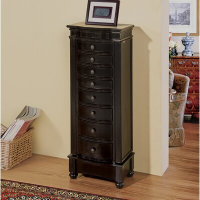 Riverton Eight Drawer Jewelry Armoire Color: Black