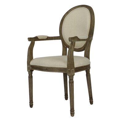 Auclair Weathered Upholstered Dining Chair Upholstery: Beige, Finish: Weathered