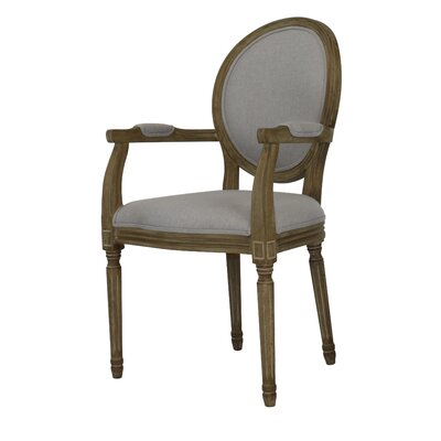 Auclair Weathered Upholstered Dining Chair Upholstery: Gray, Finish: Gray