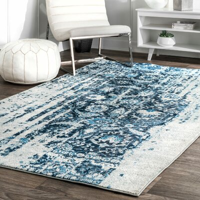 Montagne Blue/White Area Rug Rug Size: Rectangle 76 x 96