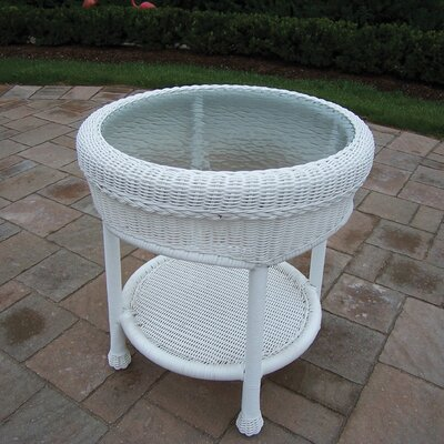 Kingsmill Wicker Side Table Finish: White