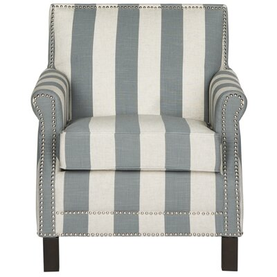 Randall Arm Chair Upholstery: Gray and White
