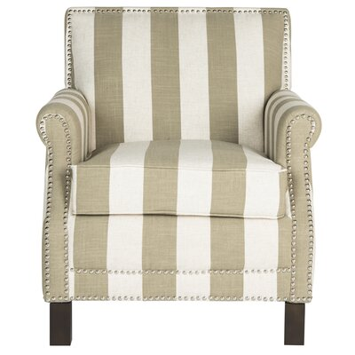 Randall Armchair Upholstery: Taupe and White