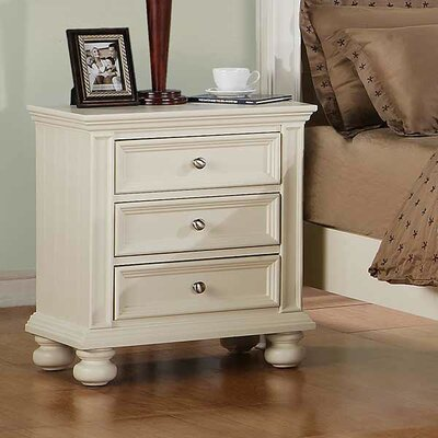 Miami Springs 3 Drawer Nightstand Color: White