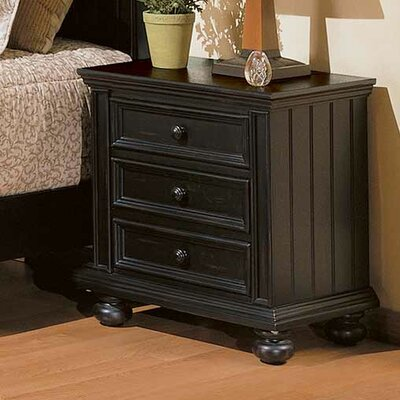 Miami Springs 3 Drawer Nightstand Finish: Ebony