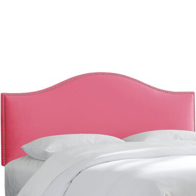 Hendry Nail Button Upholstered Panel Headboard Size: Twin, Upholstery: Flamingo