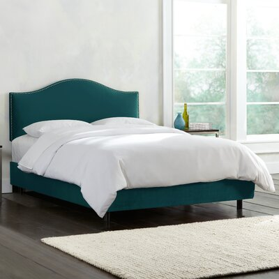 Mystere Nail Button Upholstered Panel Bed Size: Twin, Color: Peacock