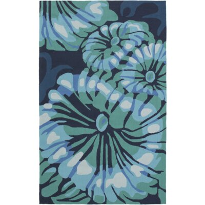 Surfside Hand-Hooked Indoor/Outdoor Teal/Navy Area Rug Rug Size: 3 x 5