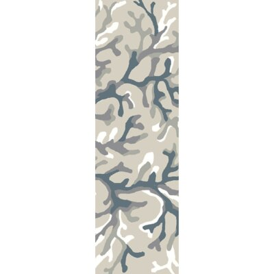 Cherrywood Hand Tufted Light Gray/Teal Area Rug Rug Size: Runner 26 x 8