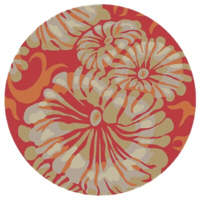 Maarten Hot Pink/Burnt Orange Indoor/Outdoor Area Rug Rug Size: Round 8
