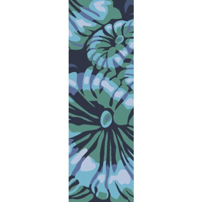 Maarten Hand-Hooked Indoor/Outdoor Teal/Navy Area Rug Rug Size: Runner 26 x 8