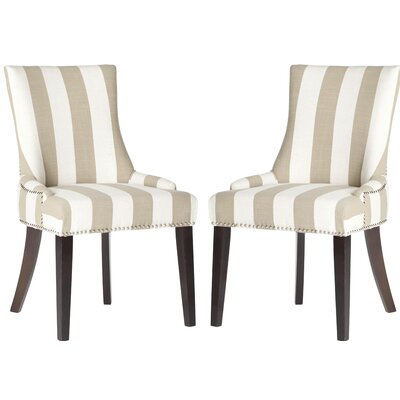 Gowanus Dining Chair Upholstery: Taupe / White Stripe