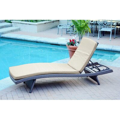 Friendship Harbor Chaise Lounge with Cushion Cushion Color: Tan, Finish: Espresso