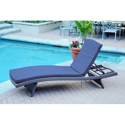 Friendship Harbor Chaise Lounge with Cushion Cushion Color: Navy Blue, Finish: Espresso