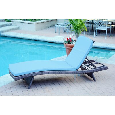 Friendship Harbor Chaise Lounge with Cushion Cushion Color: Turquoise, Finish: Espresso