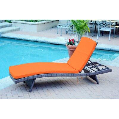 Friendship Harbor Chaise Lounge with Cushion Cushion Color: Brick Orange, Finish: Espresso
