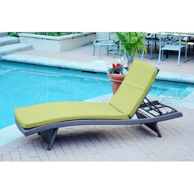 Friendship Harbor Chaise Lounge with Cushion Cushion Color: Green, Finish: Espresso