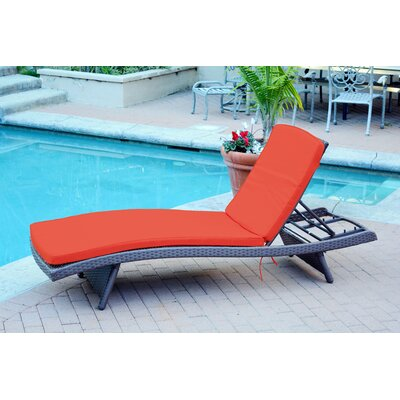 Friendship Harbor Chaise Lounge with Cushion Cushion Color: Dark Red, Finish: Espresso