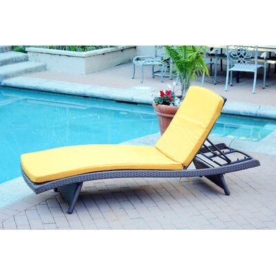 Friendship Harbor Chaise Lounge with Cushion Cushion Color: Mustard, Finish: Espresso