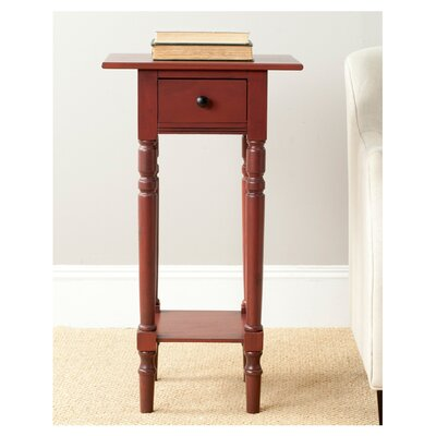 Amityville 1 Drawer End Table Color: Red