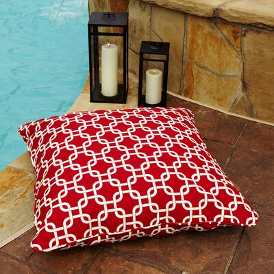Cornish Indoor/Outdoor Euro Pillow Fabric: Knotted Red