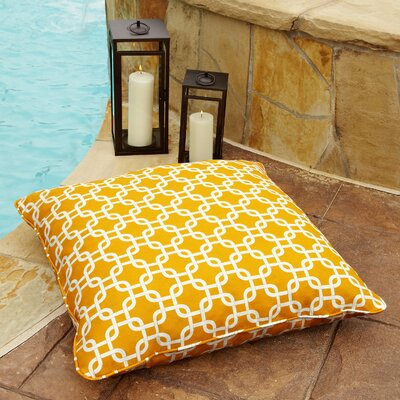 Cornish Indoor/Outdoor Euro Pillow Fabric: Knotted Yellow