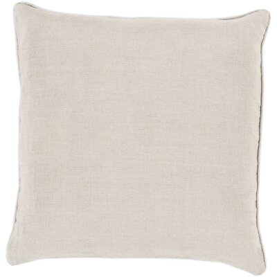 Franklin Linen Throw Pillow Size: 18, Color: Ivory, Filler: Down