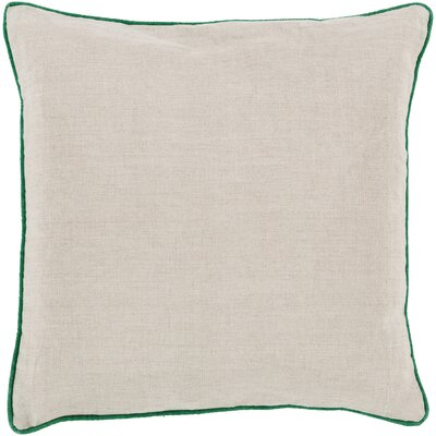 Franklin Linen Throw Pillow Size: 22, Color: Green, Filler: Down