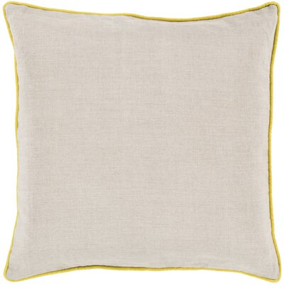 Franklin Linen Throw Pillow Size: 22, Color: Yellow, Filler: Down